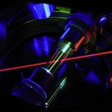 This RF ion trap holds individual thorium atoms while they are laser-cooled to near absolute zero temperature.